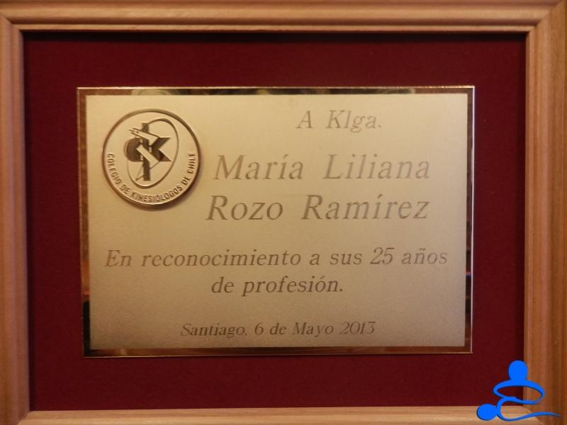 Reconocimiento 25 Años, Liliana Rozo Chile 2013