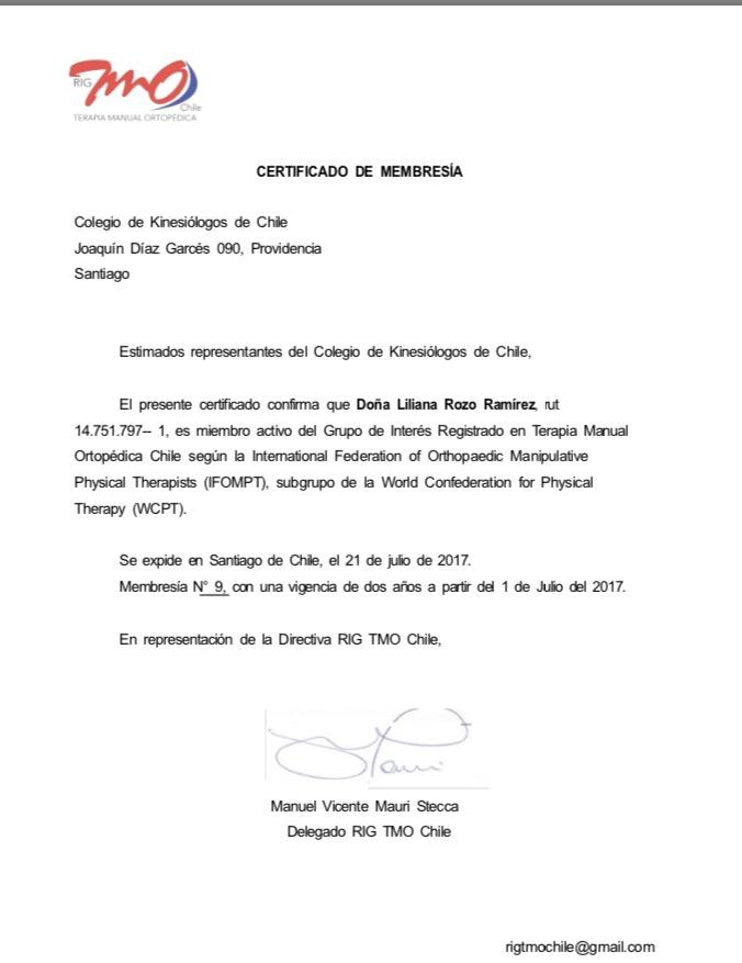 Miembro activo del RIG chile - registro n°9